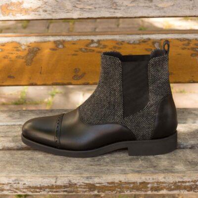 Custom Made Chelsea Boot Multi in Black Box Calf Leather and Nailhead Sartorial