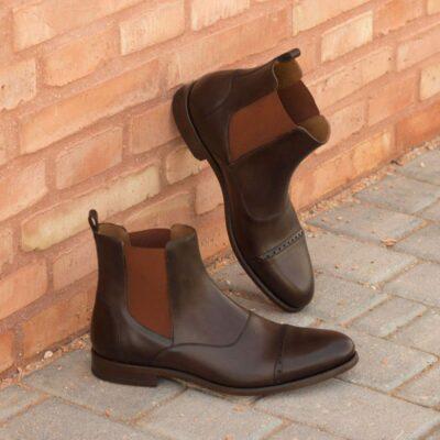 Custom Made Chelsea Boot Multi in Dark Brown Painted Calf Leather