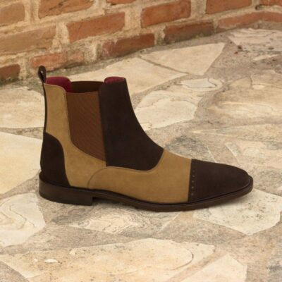 Custom Made Chelsea Boot Multi in Dark Brown and Camel Luxe Suede