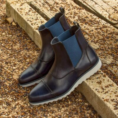 Custom Made Chelsea Boot Multi in Navy Blue Painted Calf Leather