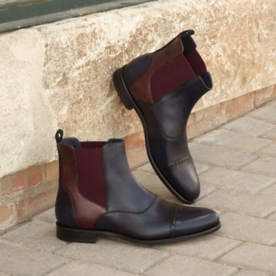 Custom Made Chelsea Boot Multi in Navy Blue Painted Calf Leather and Luxe Suede with Burgundy Painted Calf