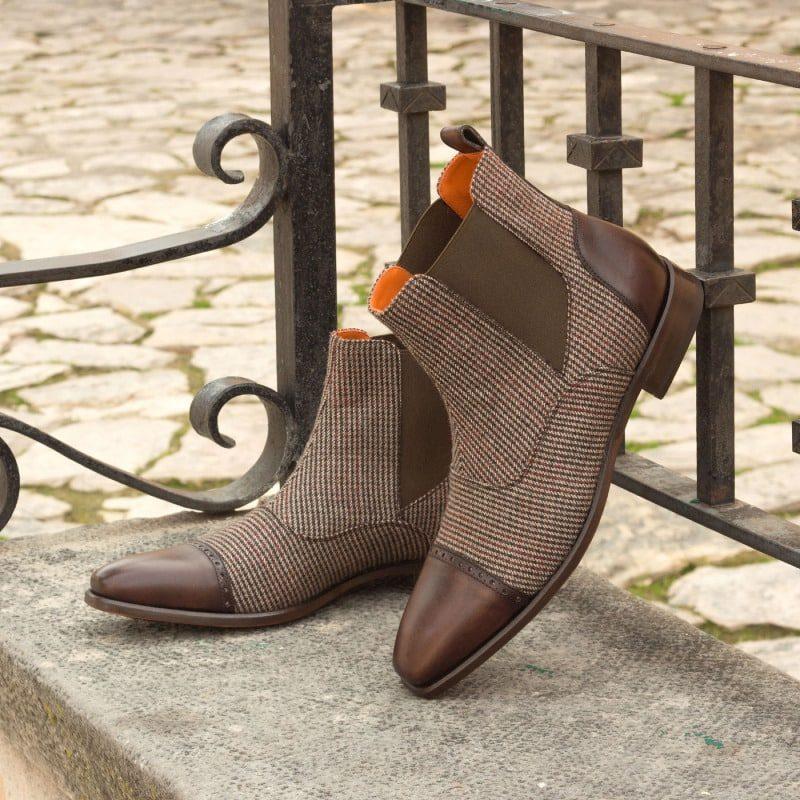 Custom Made Chelsea Boot Multi in Tweed with Dark Brown Painted Calf Leather