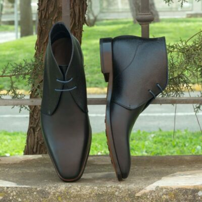 Custom Made Chukka Boot in Black and Navy Blue Painted Calf Leather with Black Pebble Grain Leather
