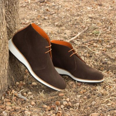 Custom Made Chukka Boot in Dark Brown Luxe Suede with Cognac Pebble Grain Leather