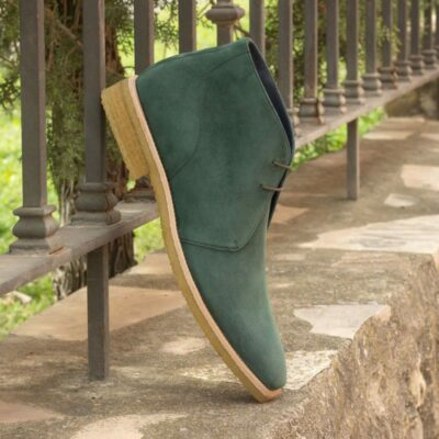 Custom Made Chukka Boot in Forest Green Kid Suede