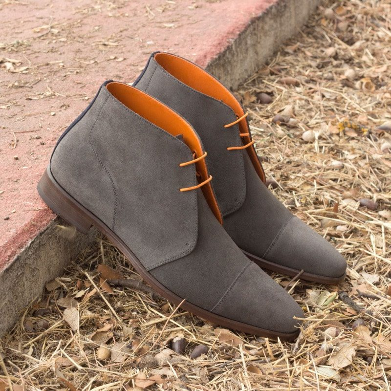 Custom Made Chukka Boot in Grey and Navy Blue Luxe Suede