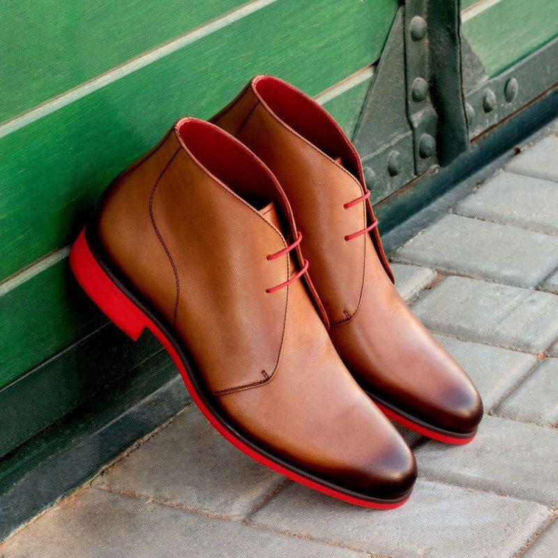 Custom Made Chukka Boot in Medium Brown Painted Calf Leather