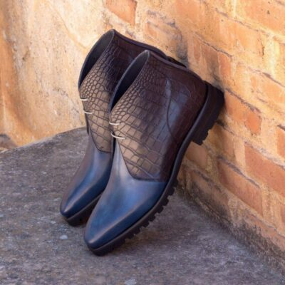 Custom Made Chukka Boot in Navy Blue Painted Calf with Black Croco Embossed Calf Leather