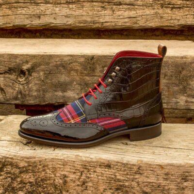 Custom Made Military Brogue Boot in Black Croco Embossed Leather, Cognac Box Calf, Black Patent Leather and Tartan Sartorial