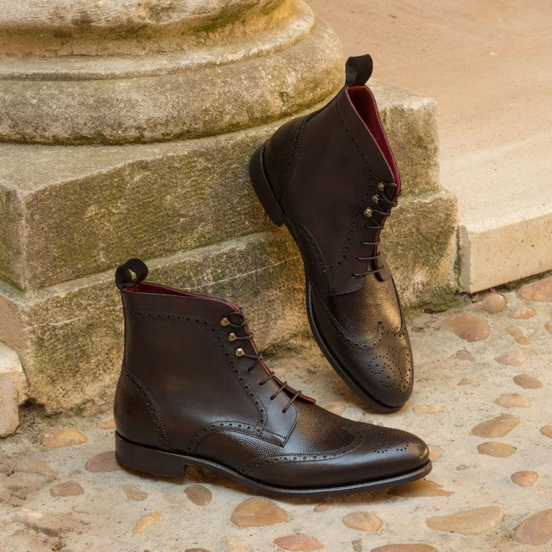 Custom Made Military Brogue Boot in Black Kid Suede, Painted Calf and Pebble Grain Calf Leather