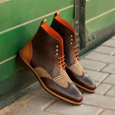 Custom Made Military Brogue Boot in Cognac and Dark Brown Painted Calf Leather with Tweed Sartorial