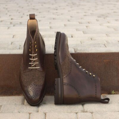 Custom Made Military Brogue Boot in Dark Brown Painted Calf Leather with Herringbone Sartorial