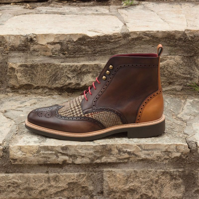 Custom Made Military Brogue Boot in Dark Brown and Cognac Painted Calf Leather with Tweed Sartorial