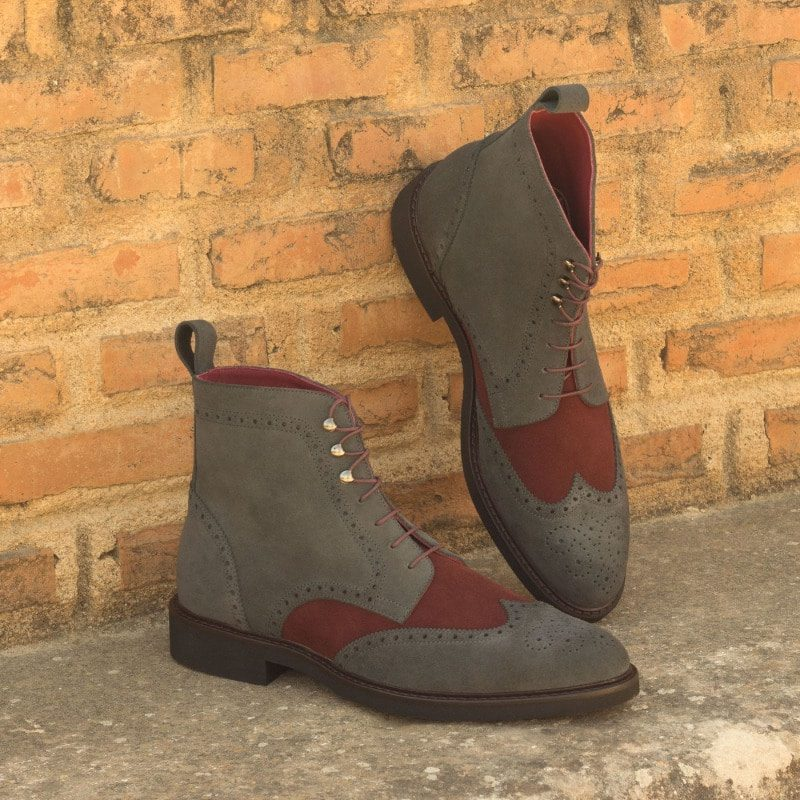 Custom Made Military Brogue Boot in Grey and Burgundy Luxe Suede