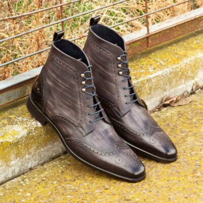 Custom Made Military Brogue Boot in Italian Raw Crust Leather with a Grey Hand Patina with Black Patent Leather