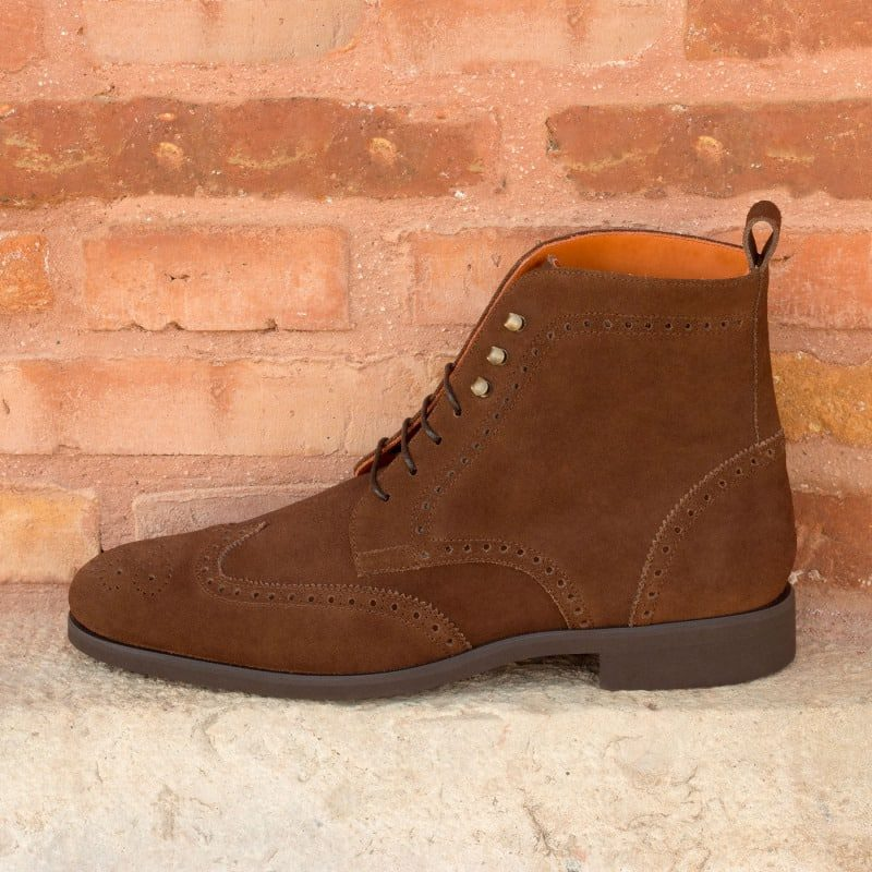 Custom Made Military Brogue Boot in Medium Brown Luxe Suede