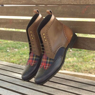 Custom Made Military Brogue Boot in Medium Brown, Navy Blue and Olive Painted Calf Leather with Tartan Sartorial
