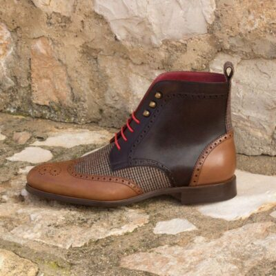 Custom Made Military Brogue Boot in Medium and Dark Brown Painted Calf Leather with Tweed Sartorial