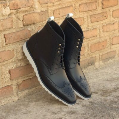 Custom Made Military Brogue Boot in Navy Blue and White Box Calf Leather