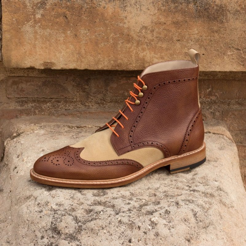 Custom Made Military Brogue Boot in Sand Luxe Suede and Medium Brown Painted Full Grain Leather