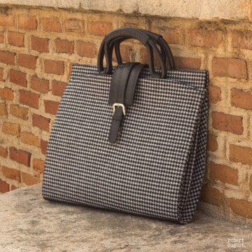 Custom Made Luxury Briefcase in Houndstooth and Black Painted Calf Leather