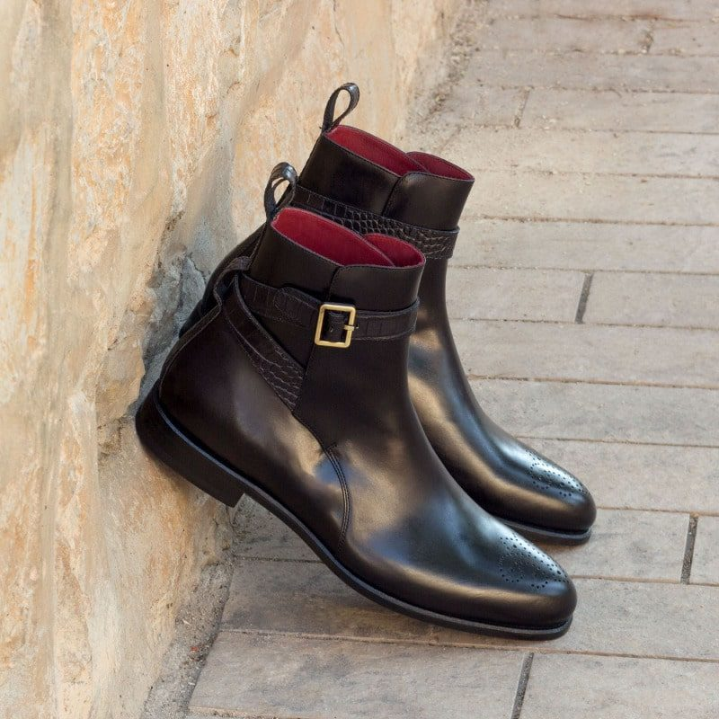 Custom Made Jodhpur Boot in Black Polished Calf and Croco Embossed Leather