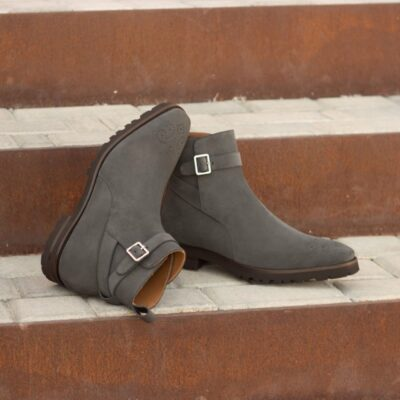 Custom Made Jodhpur Boot in Grey Luxe Suede