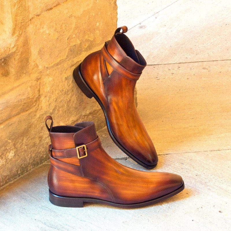 Custom Made Jodhpur Boot in Italian Raw Crust Leather with a Cognac Hand Patina