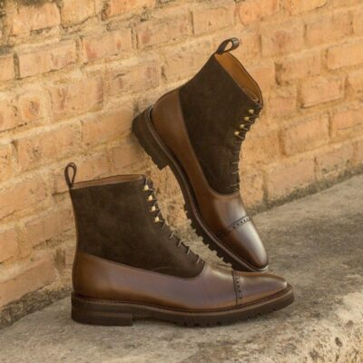Custom Made Balmoral Boot in Dark Brown Polished Calf and Luxe Suede