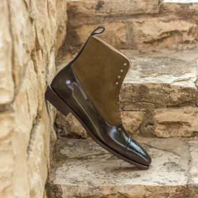 Custom Made Balmoral Boot in Dark Brown and Khaki Luxe Suede with Green Polished Calf Leather