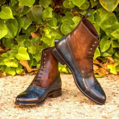 Custom Made Balmoral Boot in Italian Raw Crust Leather with a Denim Blue and Brown Marbled Hand Patina