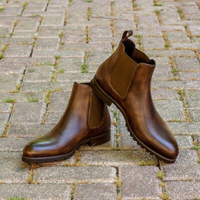Custom Made Chelsea Boot Classic in Dark Brown Painted Full Grain Leather