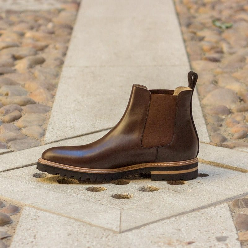 Custom Made Chelsea Boot Classic in Dark Brown Polished Calf and Luxe Suede
