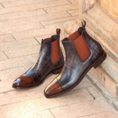 Custom Made Chelsea Boot Classic in Italian Raw Crust Leather with a Grey and Brown Papiro Hand Patina