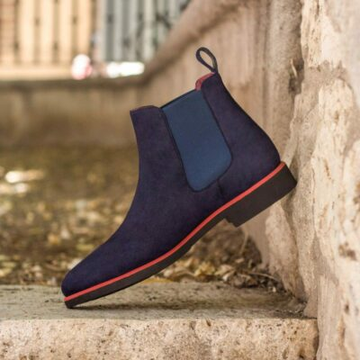 Custom Made Chelsea Boot Classic in Navy Blue Kid Suede