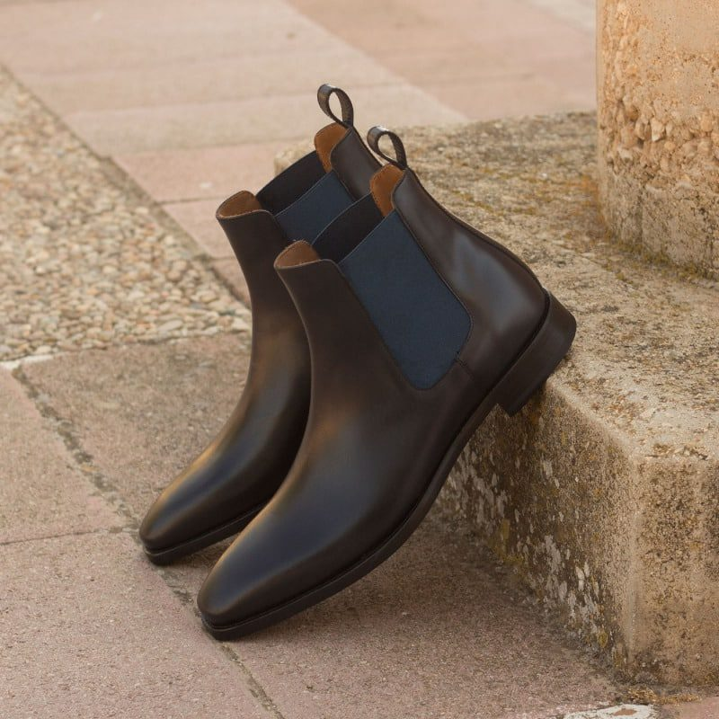 Custom Made Chelsea Boot Classic in Navy Blue Polished Calf Leather