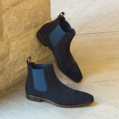 Custom Made Chelsea Boot Classic in Navy Blue and Burgundy Luxe Suede