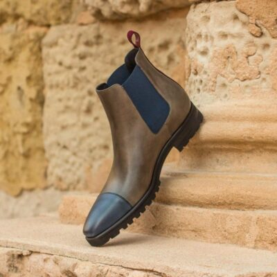 Custom Made Chelsea Boot Classic in Navy Blue and Grey Painted Calf Leather with Wine Kid Suede