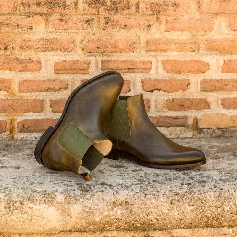 Custom Made Chelsea Boot Classic in Olive Painted Calf Leather