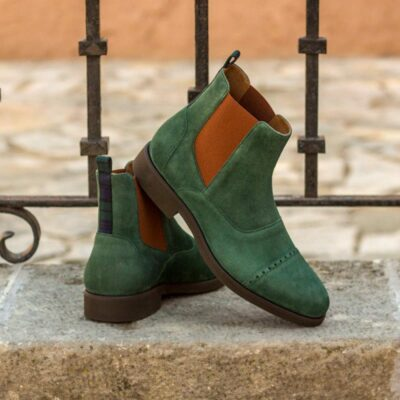 Custom Made Chelsea Boot Multi in Forest Green Kid Suede with Blackwatch Sartorial