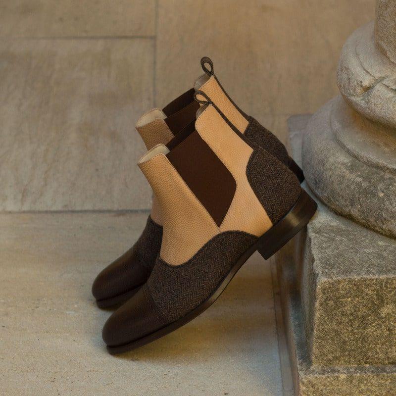 Custom Made Chelsea Boot Multi in Herringbone with Fawn and Dark Brown Pebble Grain Leather