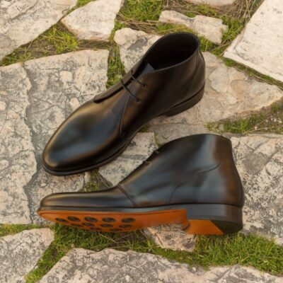 Custom Made Chukka Boot in Black Polished Calf Leather