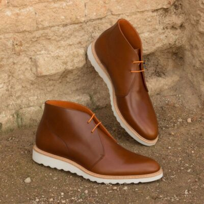 Custom Made Chukka Boot in Cognac Polished Calf Leather