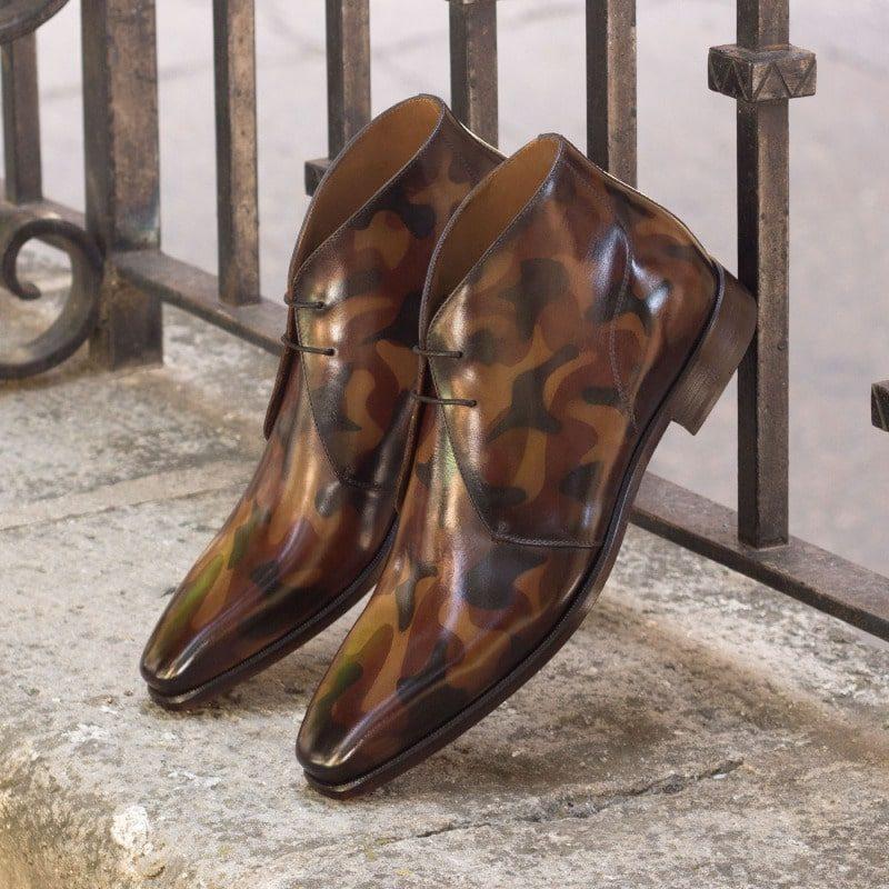 Custom Made Chukka Boot in Italian Raw Crust Leather with a Brown Camo Hand Patina