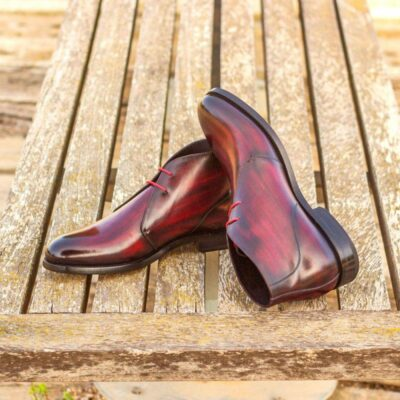 Custom Made Chukka Boot in Italian Raw Crust Leather with a Burgundy Hand Patina