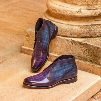 Custom Made Chukka Boot in Italian Raw Crust Leather with a Denim and Purple Papiro Hand Patina