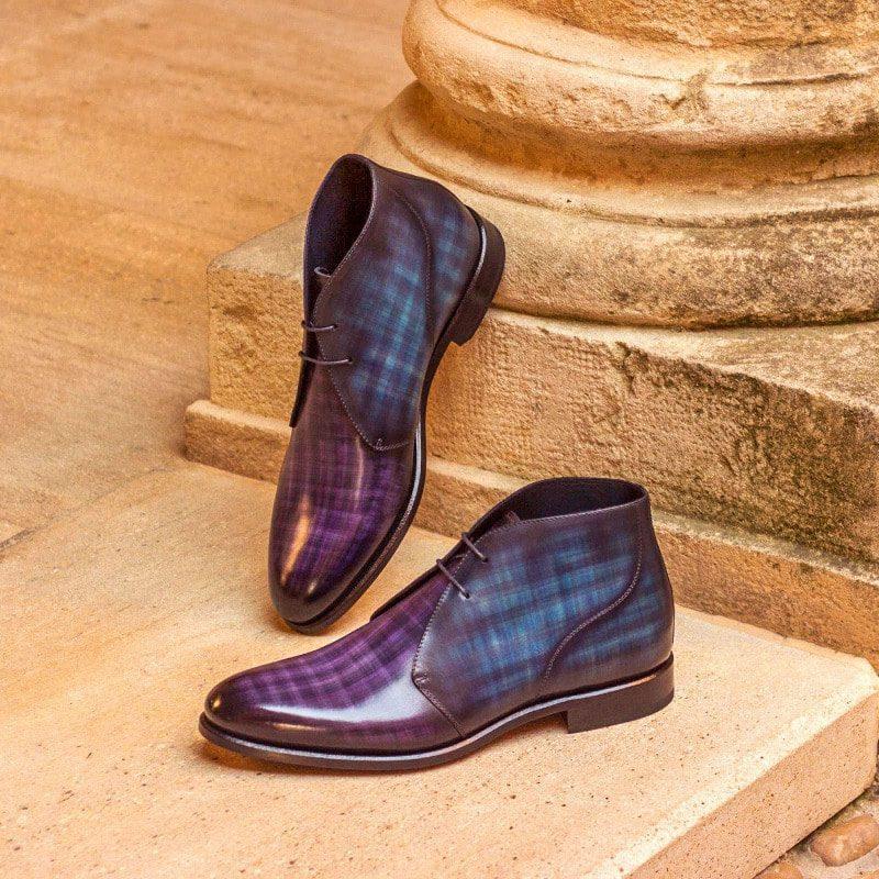 Custom Made Chukka Boot in Italian Raw Crust Leather with a Denim and Purple Papiro Hand Patina