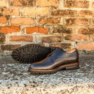 Custom Made Derby in Black Croco and Black Kid Suede