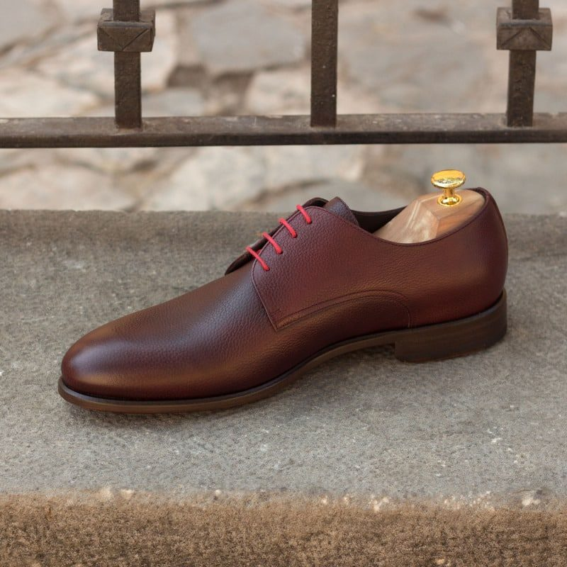 Custom Made Derby in Burgundy Painted Full Grain Leather