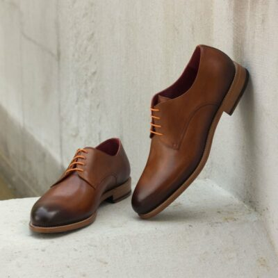 Custom Made Derby in Cognac Painted Calf Leather